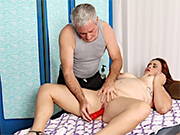 Horny BBW gets her pussy rubbed and fucked with toys by her masseur