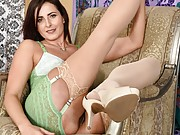 Helena Price sexy milf in tan stockings strips in armchair
