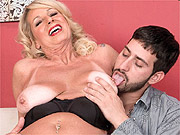 Older woman seduces man in her lingerie