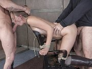 Mona Wales boots babe is chair bound and brutally double fucked