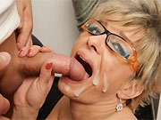 Horny mature blonde fucking with the bald guy