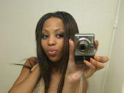 Pretty slender black teen takes revealing selfies
