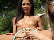 Alexa Tomas shaved pussy spread open wide outside