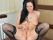 Stockings milf with blue eyes spreads