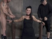India Summer in brutal dungeon bondage double fucked by maledoms