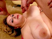 Horny big tits fatty Holli Hills giving a blowjob and getting screwed