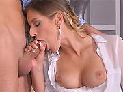 Mira Sunset sexy blonde sucks a cock at office