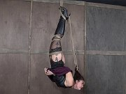 Kat Monroe high boots babe is tied wrapped in rope and clamped