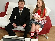 Slim teen student Yulia Blondy screwed and jizzed by lucky old teacher