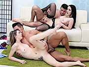 Swinger wives gives nice blowjobs before getting pussies pounded good