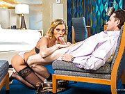 Hot 21yo escort in sexy lingerie has sex with a client in his hotel room