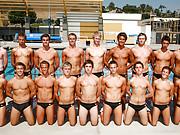 Groups of gay guys in speedo swimwear.