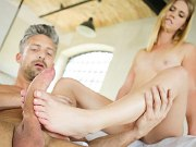 Violette Pure blonde delivers a nice fetish foot fantasy to Lutro