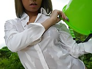 Hot office lady outdoors fetish sex play
