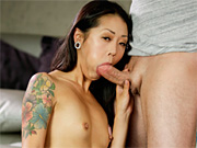 This asian cutie sucks and fucks her man's juicy cock