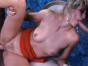 Two guys double fucked blonde in all holes