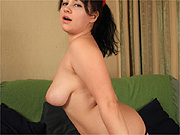 Chubby girl exposes herself and parts lips