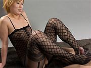 Asian in lingerie giving foot job