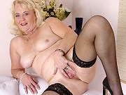 Blonde fat mature Heather in black stockings getting nasty and teasing