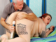 BBW gets naked and enjoys her pussy being massaged by her masseur using sex toys