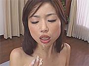 Big tits Japanese girls take machine gun fast semen shots to their faces