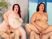 Two BBWs give blowjobs to their buddies & then both the pussies gets fucked