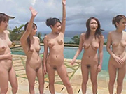 Japanese beach girls compete in a public sex contest