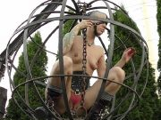 Abigail Dupree put in cage outdoors and digging a hole for master