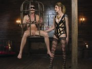 Casey Kisses ts femdom in latex and stockings fucks tied male sub