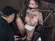 Leigh Raven with tattoos is rope bound and toyed by maledom Matt
