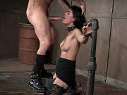 Olive Glass in black stockings bound for full sexually treatment