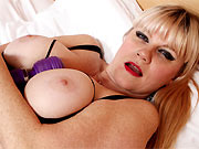 Velvetina Fox busty milf blonde in stockings masturbates
