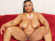 Ebony plumper gets naked and put her juicy tits and pussy for display