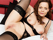 Horny amateur mom in black lingerie and stockings