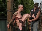 Abigail Dupree bound outdoors with gag her pussy toyed by maledom