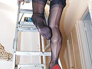 Hot Wife on Ladder Stockings Slip Upskirt Panties
