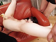 Acrobatic Japanese lady gets pussy spread in hard threesome