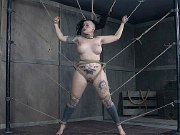 Luna LaVey busty is bound in rope her pussy vibrated to orgasms