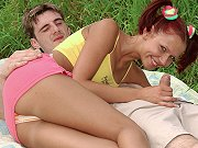 Teen redhead Becca Michelle giving blowjob and getting fucked outdoors