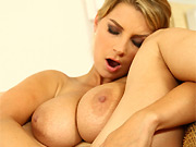 Katerina Hartlova glam busty blonde strips and masturbates