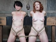 Mia Torro and Kel Bowie rope bound together and toyed by maledom