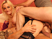 Housewife double penetrated by her lover and the gardener