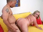 Busty fat mature blonde Rylee Peyton getting screwed by a black guy