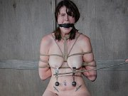 Sosha Belle busty happy feet babe bound and spanked in dungeon