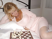 Wife Showing Panties and Stockings Playing Chess