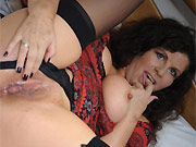 Gilly Sampson bigboobs mom in black stockings stripping