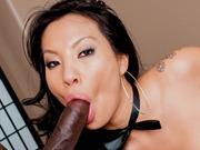 Asian Asa Akira enjoys a big black cock in her ass