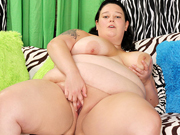 Sexy and chubby girl gets naked and then takes a stiff cock in her mouth