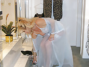 Hot MILFy Wife in Panties Stockings & See-through Nightgown