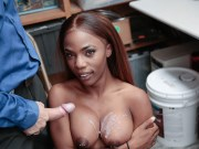 Big tit ebony shoplyfter Sarah Banks busted and fucked